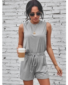 Dresswel Women Solid Color Crew Neck Sleeveless Tank Top Shorts Loungewear Set