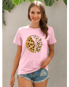 Dresswel Women Butterfly Pizza Print Simple O Neck Short Sleeve Loose T-Shirt Tops