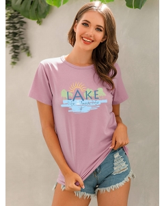 Dresswel Women Lake Life is The Best Life Letter Print Graphic Round Neck T-Shirt Tops