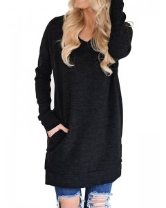 Dresswel Women Casual V-Neck Long Sleeves Tunics with Pockets Blouse Tops