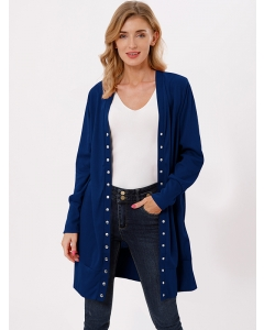 Dresswel Women Button Down Long Sleeves Solid Color Slim Fit Mid-length Cardigan