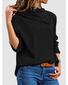 Dresswel Women Asymmetric Neck Long Sleeve Solid Color Ribbed Knit Pullover Sweater Tops