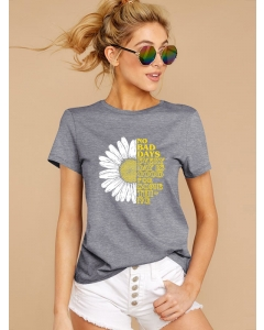 Dresswel Women No Bad Days Every Day Letter Daisy Print Crew Neck T-shirt Tops