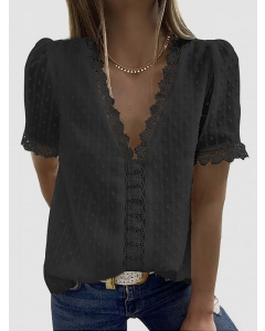 Dresswel Women Solid Color Flocked Dots Lace Pattern Hollow Out V Neck Blouse Tops