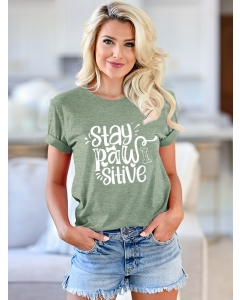 Dresswel Women Stay Paw Sitive Letter Print Short Sleeve Crew Neck Cute T-Shirts Tops