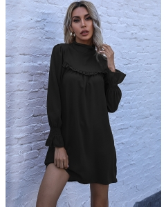 Dresswel Women Solid Color Standing Neck Long Sleeve Pleated Loose Pullover Mini Dress