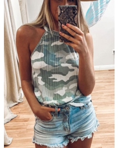 Dresswel Women Camouflage Printed Halter Neck Sleeveless Casual Camisole Tank Tops