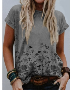 Dresswel Women Floral Print Stitching Round Neck Short Sleeves Loose Fit T-shirt Tops