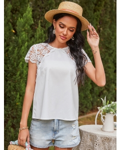 Dresswel Women Solid Color Lace Spliced Button Up Short Sleeve Crew Neck T-Shirts Tops