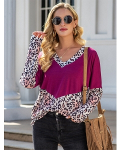 Dresswel Women Leopard Colorblock Long Sleeve V Neck Fashion Loose T-Shirts Tops