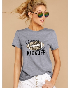 Dresswel Women Classy Until Kickoff Letter Football Printed Comfy Short Sleeve T-Shirts Tops