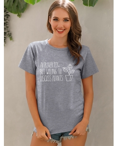 Dresswel Women Introverted But Willing To Letter Plant Potted Print T-shirt Tops