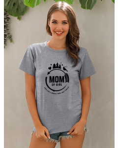 Dresswel Women Mom Of Girl Just Like A Normal Mom Letter Graphic Print T-shirt Top