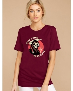 Dresswel Women What A Time To Be Alive Letter Skull Printed Short Sleeve T-Shirts Tops