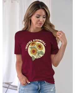 Dresswel Women INSPIRE KINDNESS Letter Sunflower Graphic Printed Round Neck T-Shirts Tops