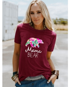 Dresswel Women Mama Bear Letter Graphic Flower Print Mother's Day Gift T-Shirts Tops