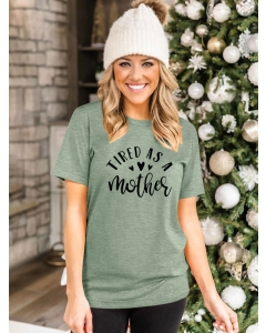 Dresswel Women Tired as A Mother Letter Hearts Print Crew Neck Mother's Day T-Shirts Tops