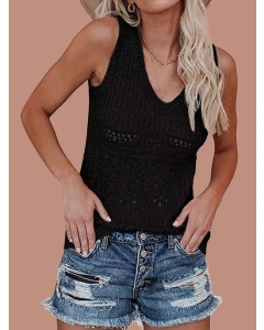 Dresswel Women Solid Color Hollow Out Stitching Sleeveless V Neck Slim Knit Tank Top