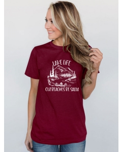 Dresswel Women Lake Life Cuz Beaches Be Salty Landscape Printed Casual T-Shirts Tops