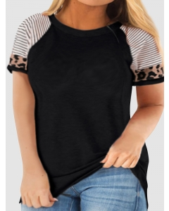 Dresswel Women Striped Leopard Print Tee Shirt Raglan Sleeve Large Size T-shirt Tops