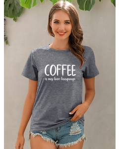 Dresswel Women Coffee is My Love Language Shirt Funny Letter Print Basic T-shirt Tops