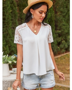 Dresswel Women Lace Splicing Hollow Out Solid Color V Neck OL Office T-Shirts Top