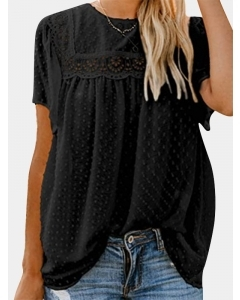 Dresswel Women Solid Color Hollow Out Lace Swiss Dot Ruched Blouse Tops
