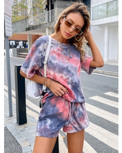 Dresswel Women Tie Dye Round Neck Drop Shoulder T-Shirt Elastic Shorts Loungewear Set