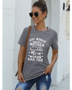 Dresswel Women Short Sleeve Any Woman Can Be A Mother Letter Printed T-Shirts Tops