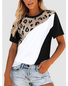 Dresswel Women Leopard Printed Stitching Contrast Color Crew Neck T-shirt Tops