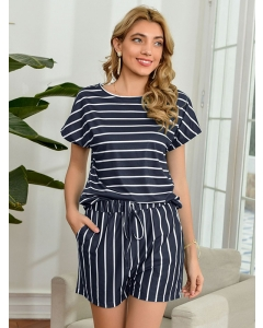 Dresswel Women Stripe Printed Round Neck Short Sleeve Pockets Elastic Loungewear Set