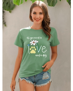 Dresswel Women All You Need Is Love And A Dog Letter Bird Flower Printed Crew Neck T-Shirts Tops