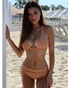 Dresswel Women Bikini Solid Color High Waist Ruched Beach Two Piece Swimwear