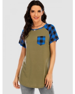 Dresswel Women Stylish Plaid Round Neck Patchwork Pocket Short Sleeve T-Shirts Tops
