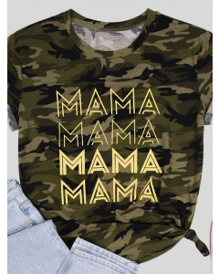 Dresswel Women Mama Letter Camouflage Print Short Sleeve Stylish T-shirts Tops