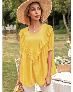 Dresswel Women Solid Color Ruffle Spliced Round Neck Frill Short Sleeve Blouse Tops