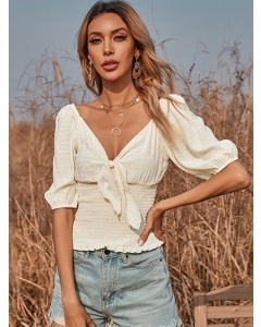 Dresswel Women Solid Color Puff Sleeve V Neck Front Bowknot Smock Blouse Tops