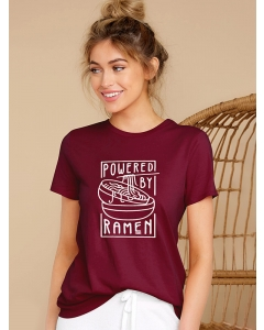 Dresswel Women Powered by Ramen Graphic Printed Short Sleeve Casual T-shirts Top