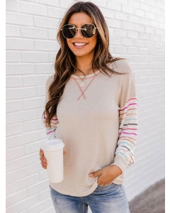 Dresswel Women Crew Neck Waffle Stitching T-shirt Striped Long Sleeve Shirt Tops
