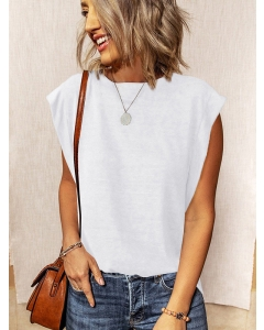 Dresswel Women Solid Color Round Neck Sleeveless Loose Casual Simple Tank Tops