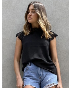 Dresswel Women Short Sleeve Lace Splicing Solid Color High Neck Casual T-Shirts Tops