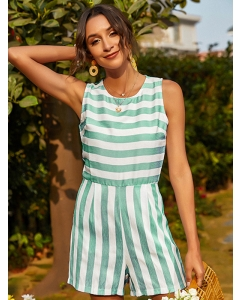 Dresswel Women Round Neck Stripe Printed Sleeveless Summer Jumpsuit Romper Bottoms