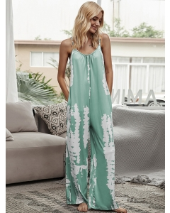 Dresswel Women Tie Dye Printed Spaghetti Strap Pockets Backless Jumpsuit Bottoms