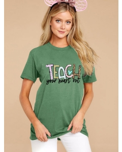 Dresswel Women Teach Your Heart OutColored Letter Printed Short Sleeve T-Shirts Tops