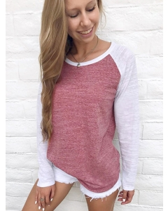 Dresswel Women Long Sleeve Colorblock Round Neck Fashion Loose Fit T-Shirts Tops