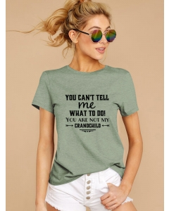 Dresswel Women You Can't Tell Me What To Do Letter Bow Arrow Printing T-shirt Tops