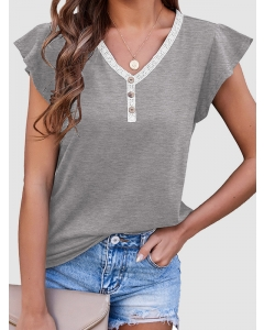 Dresswel Women Contrast Color Button Down Ruffled Sleeve V Neck Casual T-shirt Tops
