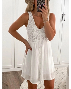 Dresswel Women Deep V Neck Oversize Sleeveless Embroidery Lace Sexy Tank Mini Dress