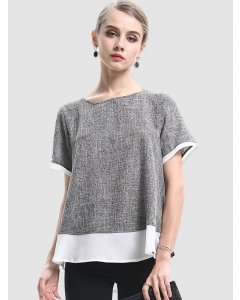 Dresswel Women Colorblock Round Neck Short Sleeve Loose Comfy T-Shirts Tops