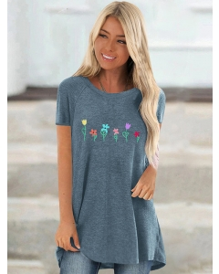 Dresswel Women Colorful Floral Printed Short Sleeve Round Neck Novelty T-shirt Top